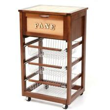 Trolley Bread Box Cooking Wood Walnut with Drawer and 3 Baskets Steel