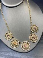 "Vintage Necklace Pink Pearl gold Rhinestone  Bling Statement Statement 18"" ~"