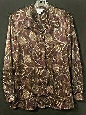 d25062fc751d91 Tess Women s Size L Blouse - Hidden Buttons - Career Long Sleeve Floral  Print