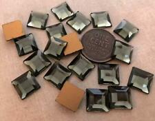 Vintage 10mm Square Faceted Charcoal Grey Glass Cabs Stones Germany 20