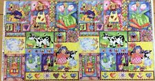 Northcott - Molly's Backyard Panel #2953 - Cow Duck Sheep Rag Doll - 100% Cotton