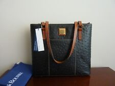 Dooney Bourke Lexington Black Ostrich Embossed Leather Tote Purse $228 NWT