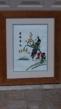 EARLY 20c CHINESE SILK EMBROIDERY OF 2 PEACKOKS ON TREE,SIGNED