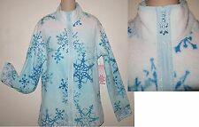 NWT~FASHION BUG $33 TURQ/WHT SNOWFLAKE FLEECE TOP LARGE