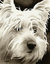 West Highland Terrier Art Print Sepia Watercolor Westie Painting by Artist DJR
