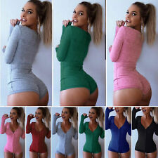 Womens V Neck Long Sleeve Jumpsuit Knitted Bodysuit Bodycon Tops Buttons Casual