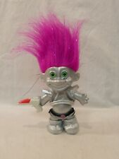 "My Lucky Silver Space Martian Russ Troll Doll Purple Metallic Hair Alien 5"" Gun"