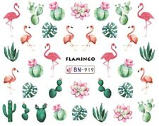 Nail Art Decals Transfers Stickers Pink Flamingos Cactus (BN919)