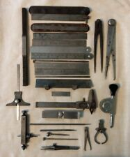 Lot of Assorted Antique Machinist Tools Rules Calipers Early 1900s Starrett Etc