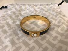 NEW DVF Diane Von Furstenberg Bangle Bracelet HDAD Swarovski Crystal Black Gold