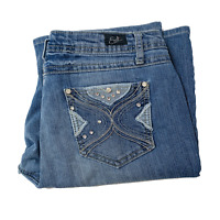 Earl Jeans Womens Size 10 Blue Bootcut Stretch Embellished Embroidered