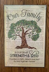 "NEW Our Family Circle of Strength Rustic Tree 12"" x 18"" Wall Art Sign Plaque"