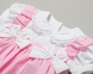 Baby girls Spanish style gingham bow romper cotton 0-3 3-6 6-9 months
