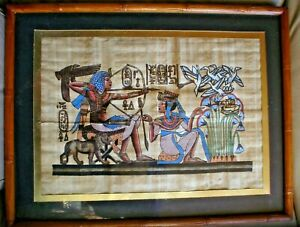 1 X VERY OLD EGYPTIAN PAINTING ON PAPYRUS 40 X 33 CM KING & QUEEN HUNTING