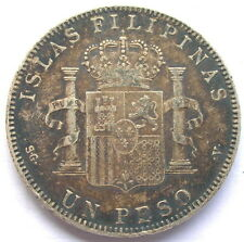 Spanish Philippines 1897 Alfonso XIII Peso Silver Coin