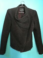 Isabel marant sz 1 sm asymmetrical red/ blk boucle wool jacket coat zip $1395