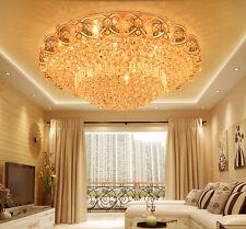 Modern K9 Crystal Gold Chandelier Flush Mount LED Ceiling Lamp Light Fixture