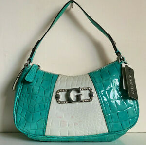 NEW! GUESS MARCIANO CLASSY PARTY TURQUOISE FAUX CROC LEATHER PURSE BAG SALE
