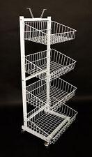 Rollständer weiß m. 4 Körben 152 hoch mit Schildhalter Wühlkorb Verkaufskörbe