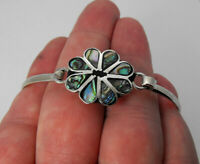 Sterling Silver Inlay Abalone Shell Flower Leaf Design Bangle Bracelet UNIQUE