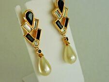 Swarovski Jet And Crystal Faux Pearl Dangle Pierced Earrings
