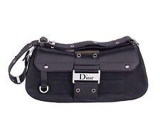 Christian Dior Black Satin Flap Top Saddle Bag