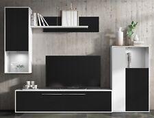 Mueble de salon comedor modulos estilo moderno color negro y blanco 250x210x40cm