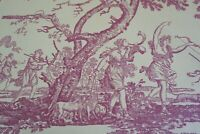 French Toile Fabric, Deer, Dogs, Cherubs, Mythology, Cranberry Beige By the yard