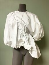 Simone Rocha Sculptural Ruched Bows Poplin Cotton Puffy 1- Sleeve Cape Top