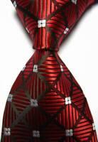 Hot! Classic Checks Red White JACQUARD WOVEN 100% Silk Men's Tie Necktie