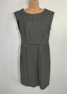 WOMENS MONSOON BLACK&WHITE STRIPED SLEEVELESS CASUAL A LINE DRESS SIZE UK 14