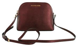 Michael Kors Adele Small Cross Body Shoulder Bag Merlot Dark Red Leather Handbag