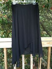 New_Asymmetric Chiffon Double Wrap Skirt / Beach Cover Up_Black_Free Size_Cute!