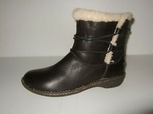 UGG Rianne Black Leather Wool Lined Ankle Winter Boots Bootie Womens Sz.10 Cute!