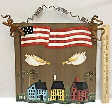 Corrugated Tin Americana Wall Hanging Rustic Painted Flag Angels 4th of July