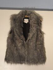 Martin Aston Faux Fur Vest NEW  Misses L Poly Gray Black Fur NWT Boho SOFT