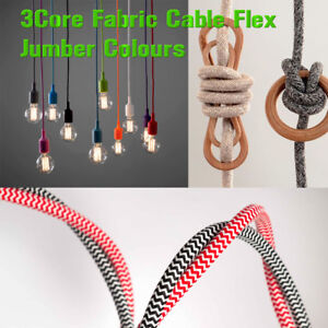 Jumper Twisted & Round Fabric Braided Cable Colour Lighting Flex 3 Core Italian