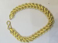 22Carat Certified Yellow Gold Dubai Rare Design Unisex Link Chain Bracelet 7Inch