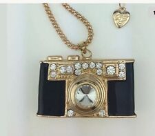 Cute NWT Betsey Johnson Necklace Camera 🎥 Bkack Gold Sparkles Photographer