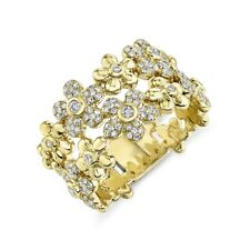 14K Yellow Gold Diamond Flower Ring Womens Statement Right Hand Cocktail 0.42TCW