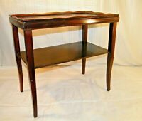 VINTAGE 1950's MID CENTURY 2 TIER CHERRY COLOR NIGHT STAND COFFEE TABLE RETRO