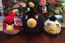 3 Angry Birds 5 inch Black Bird Plush with Sound And White. Red Nwt No Sound