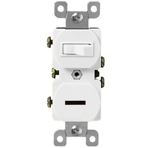 Duplex Style Toggle and Pilot Illuminated Combination Light Switch 15A 120V