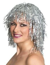 NEW Silver Tinsel Bob Wig With Fringe - One Size