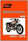 BSA Workshop Manual A65 Models 1971 & 1972 FACTORY Maintenance Service & Repair