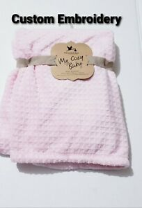 Personalized Pink Textured Minky Baby Blanket 30x40 Newborn Baby Shower Gift