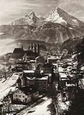 1924 GERMANY Berchtesgaden Village Watzmann Mountain Bavaria Alps Snow HIELSCHER