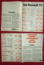 N°4627 / RENAULT gamme 1972 dépliant 4 pages alpine A 110 berlinette R12 gordini