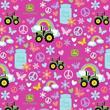 Springs ~ John Deere Tractor Pink Peace Flowers ~ 100% Cotton Quilt Fabric BTY