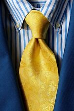 The Tie Bar Gentleman's Solid Yellow / Gold Paisley Woven Silk 'Big & Tall' Tie